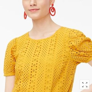 J. Crew NWT gold eyelet top